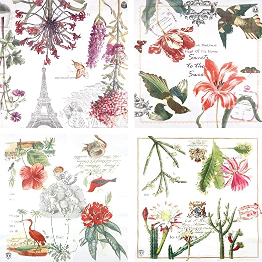 Library Craft 4 x Vintage Single Table Paper Napkins Party //for Decoupage