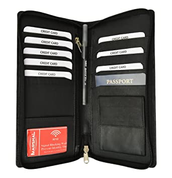 ed5bd02e7792 Amazon.com | RFID Premium Leather Zipper Travel Credit Card Passport ...