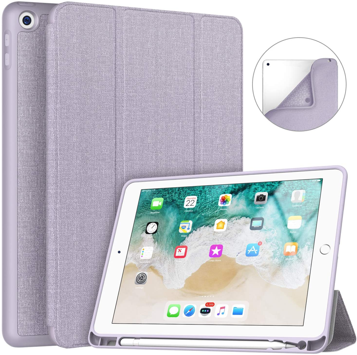 Soke iPad 9.7 2018/2017 Case with Pencil Holder, Smart iPad Case Trifold Stand with Shockproof Soft TPU Back Cover and Auto Sleep/Wake Function for iPad 9.7 inch 5th/6th Generation, Violet