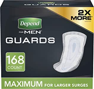 Depend Incontinence Guards for Men, Maximum Absorbency, 168 Count (Packaging May Vary)