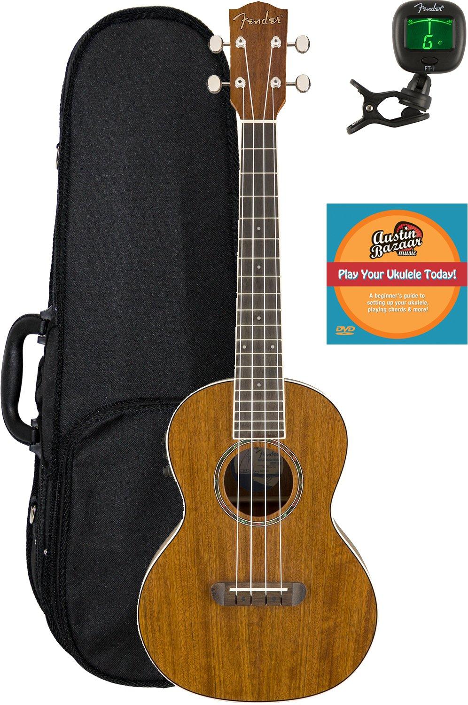 Fender Rincon Acoustic-Electric Tenor Ukulele Bundle with Hard Case, Tuner, and Austin Bazaar Instructional DVD