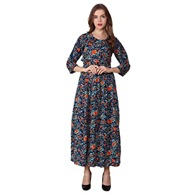78a8ab5a4ad My Swag Designer Maxi Gown Style Multicolour Floral Printed Kurta for Women