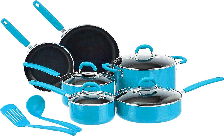 AmazonBasics Ceramic Non-Stick 12-Piece Cookware Set, Turquoise - Pots, Pans and Utensils