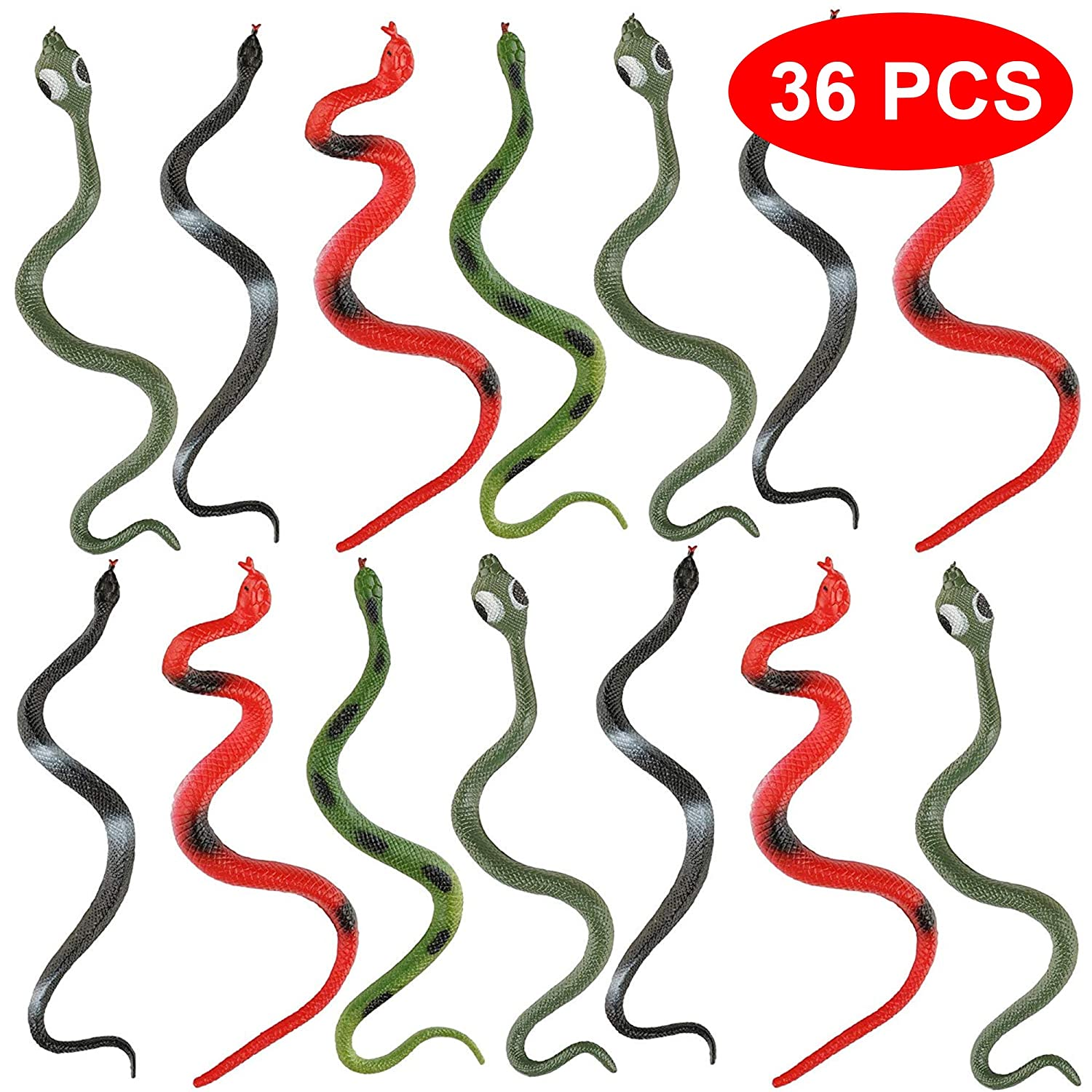 The Twiddlers 36 TPR Fake Snakes - in 6 Different Designs - Ideal for Party Favours, Party Bag fillers, Prank Toys for Halloween - Birthday Parties