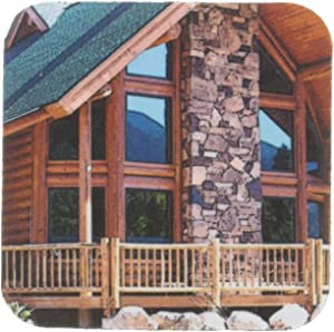 3dRose CST_59408_2 A Beautiful Log Cabin Front Porch in Pine Valley, Utah Soft Coasters, Set of 8