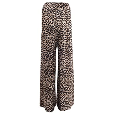 57ddd955b0083 Womens Ladies Printed Flared Wide Leg Parallel Pants Trousers Palazzo  Leggings  Amazon.co.uk  Clothing