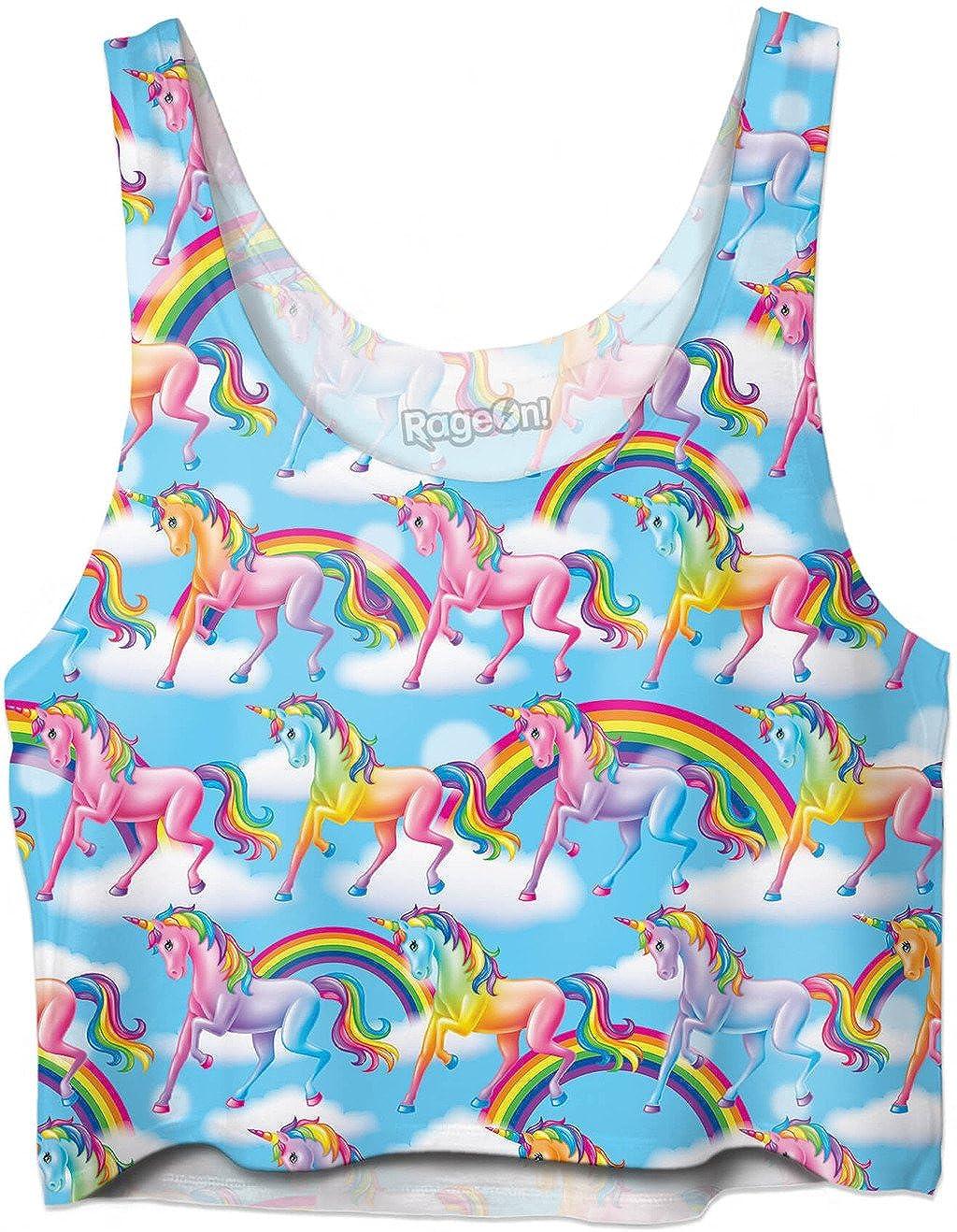 RageOn Lisa Frank Unicorn Rainbows Premium All Over Print Crop Top