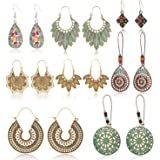 HOWAF 8 Pairs Bohemian Vintage Earrings for Women Ladies, Vintage Bohemian Earrings Drop Dangle Earrings Pendant Set Gypsy Boho Themed Earrings for Women Girls Gift Jewelry Accessories