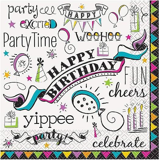 Amazon.com: Doodle Feliz cumpleaños, Servilletas para ...