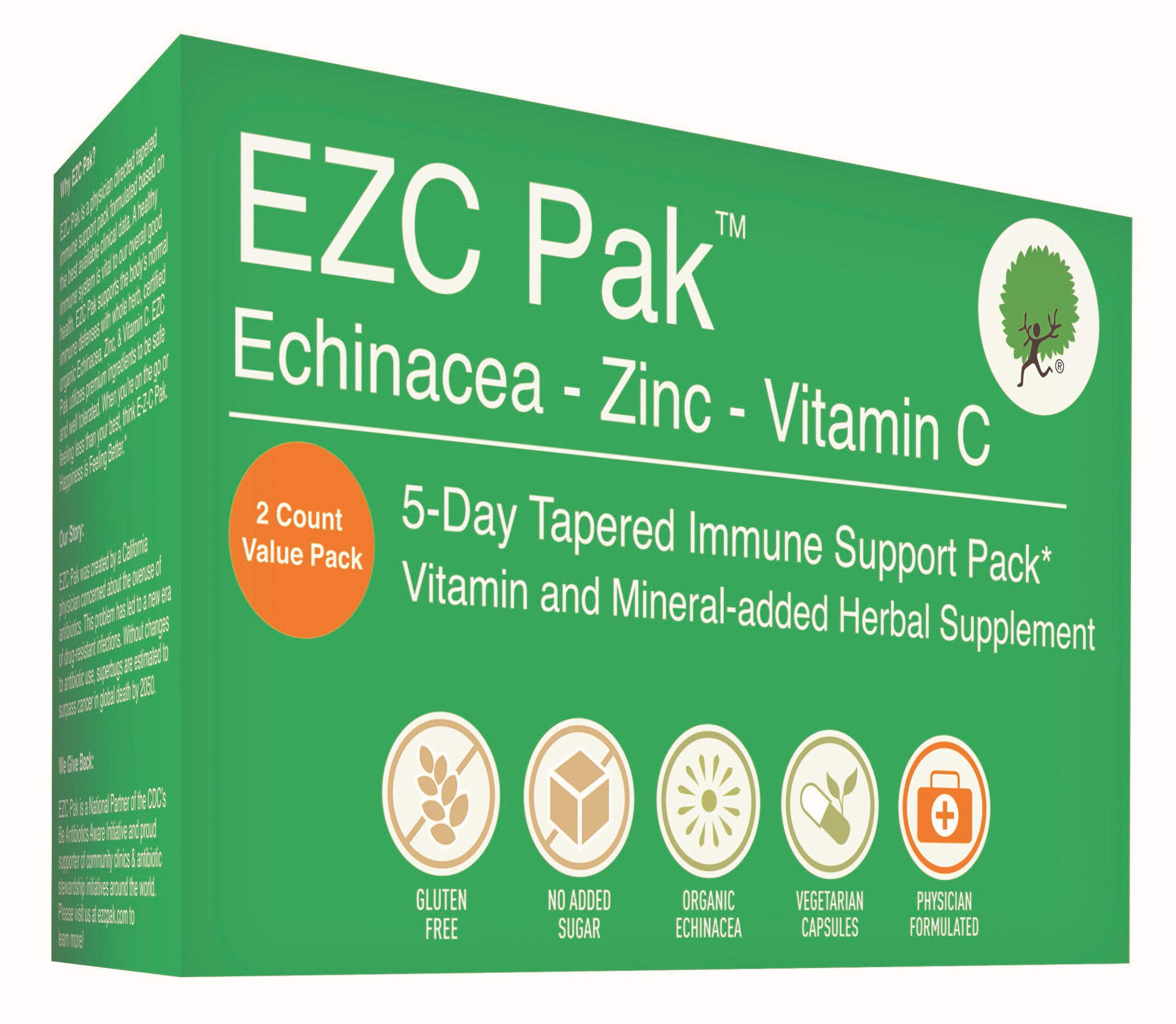 EZC Pak 5-Day Immune System Booster for Cold and Flu Relief (Pack of 2) - Echinacea, Zinc, and Vitamin C, Physician Directed 5-Day Tapered Immune Support Dose Pack by EZC Pak