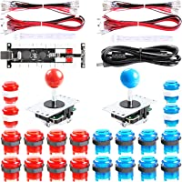 Easyget 2-Player DIY Arcade Kit Zero Delay 2-Player USB Encoder + 2X Joystick + 20x LED Arcade Buttons for PC, Windows…