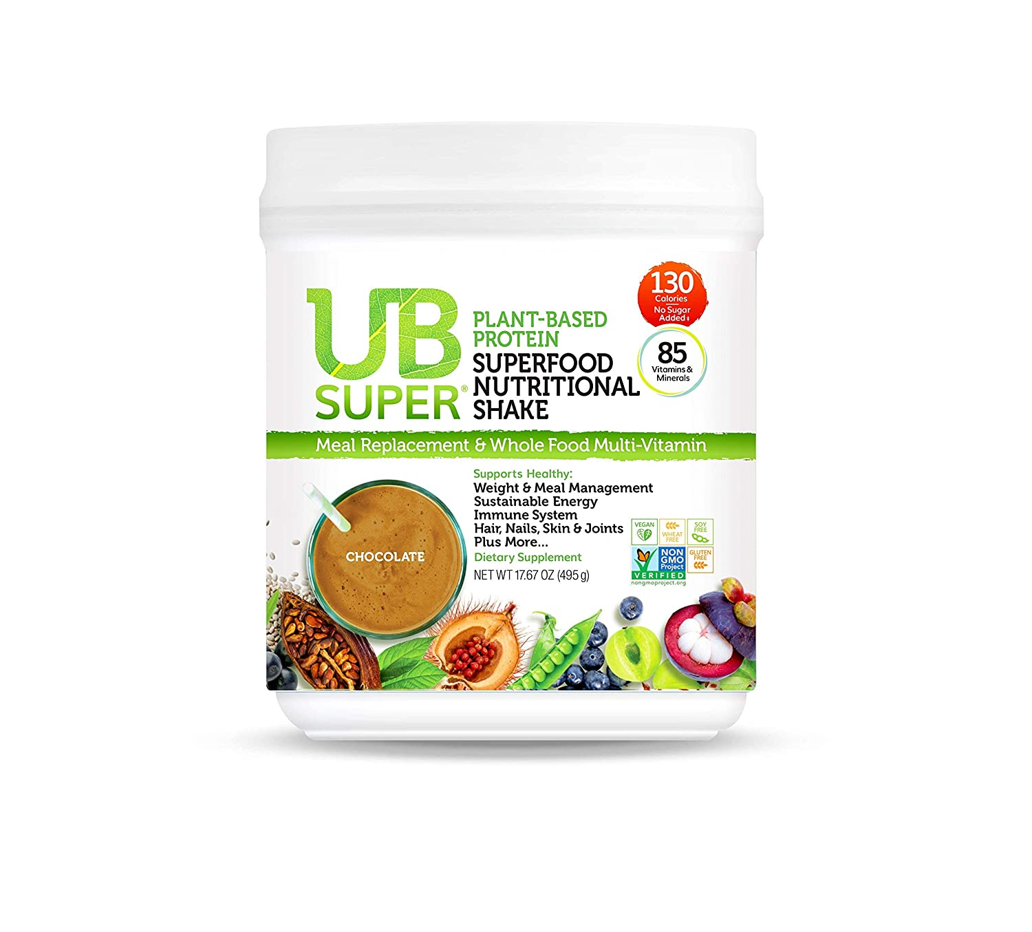 UB Super – Meal Replacement – Protein Superfood Nutritional Shake – Vegan, Gluten Free, Non GMO, No Added Sugar, Nutrient Rich – Dietary Supplement Chocolate, Plant-Based