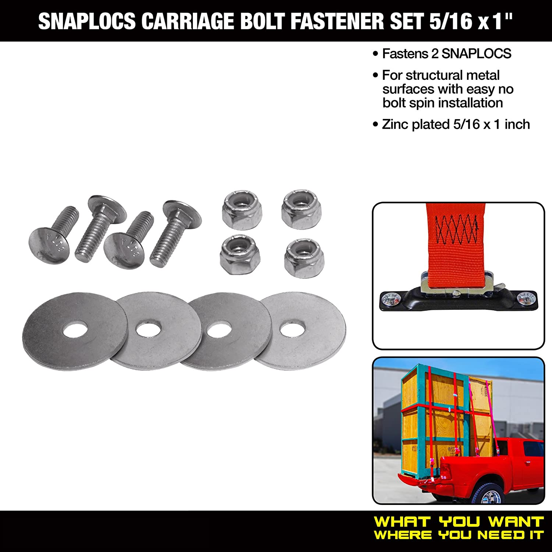 Carriage Bolt Double Set fastens 2 SNAPLOCS E-Track Singles 5//16x1