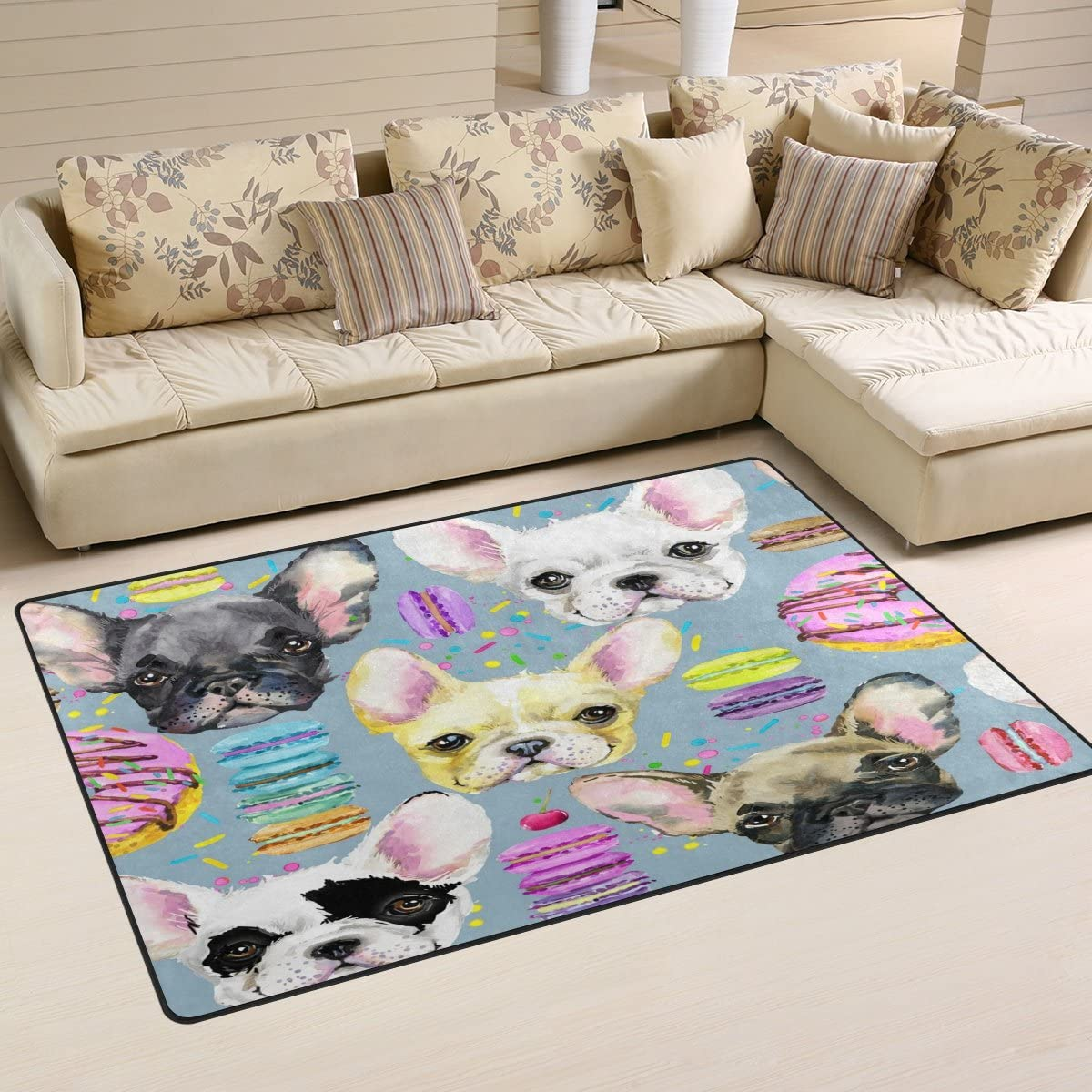 WOZO Watercolor Donut Cherry Chihuahua Dog Area Rug Rugs Non-Slip Floor Mat Doormats for Living Room Bedroom 60 x 39 inches