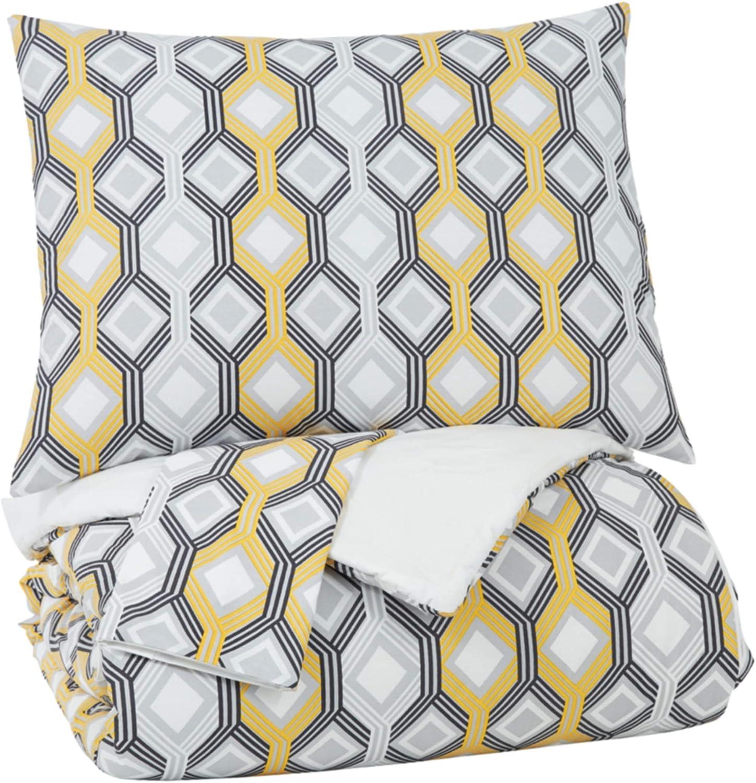Signature Design by Ashley Mato King Comforter Set, Gray/Yellow/White