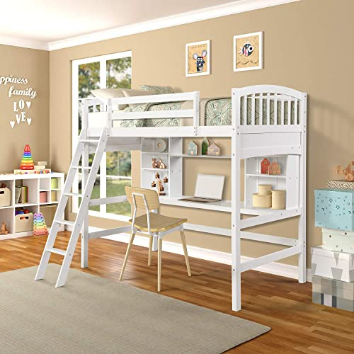 Solid Wood Twin Size Loft Bed, Study High Loft Bed Frame with Reversible Ladder and Wood Desk for Kids, No Box Spring Needed, White