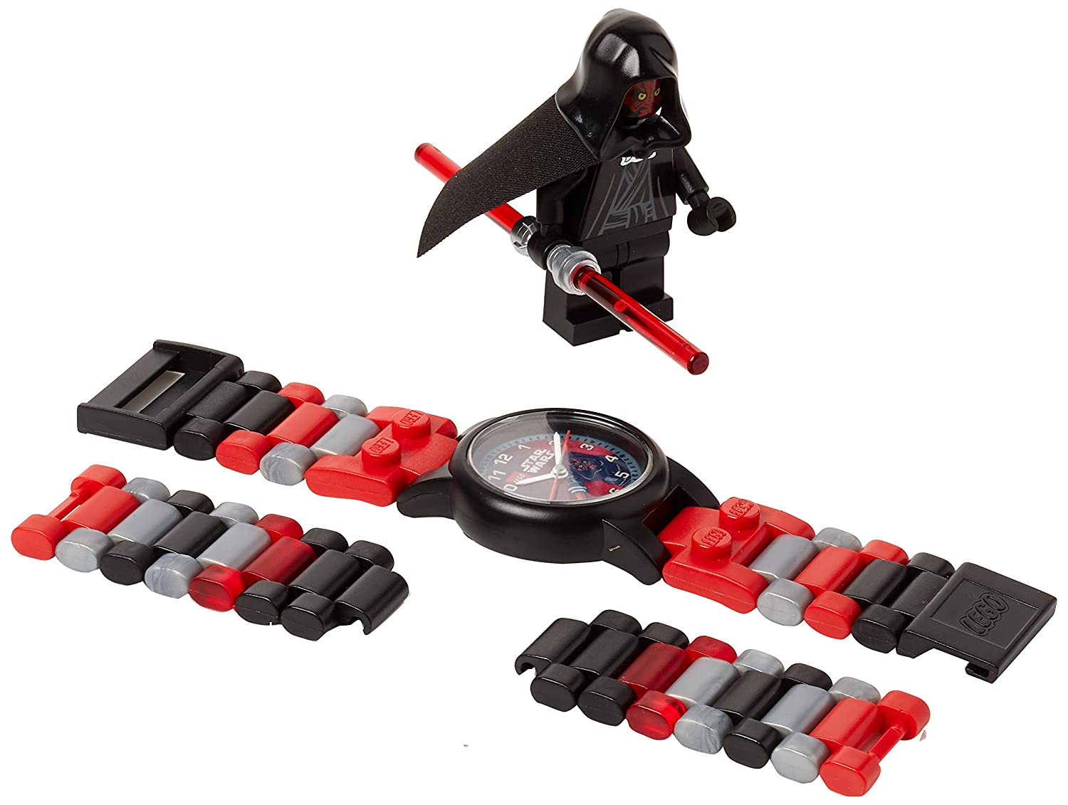 Amazon.com: LEGO 9004315 Star Wars Darth Maul Kids Buildable Watch with Link Bracelet and Minifigure | Black/red |Plastic | 25mm case Diameter| Analogue ...