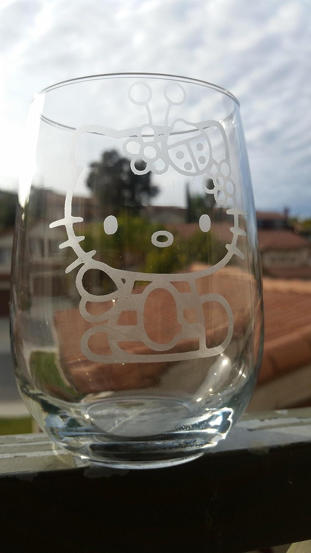 Hello Kitty Inspired Stemless Wine Glass White Wine Red Wine Glass