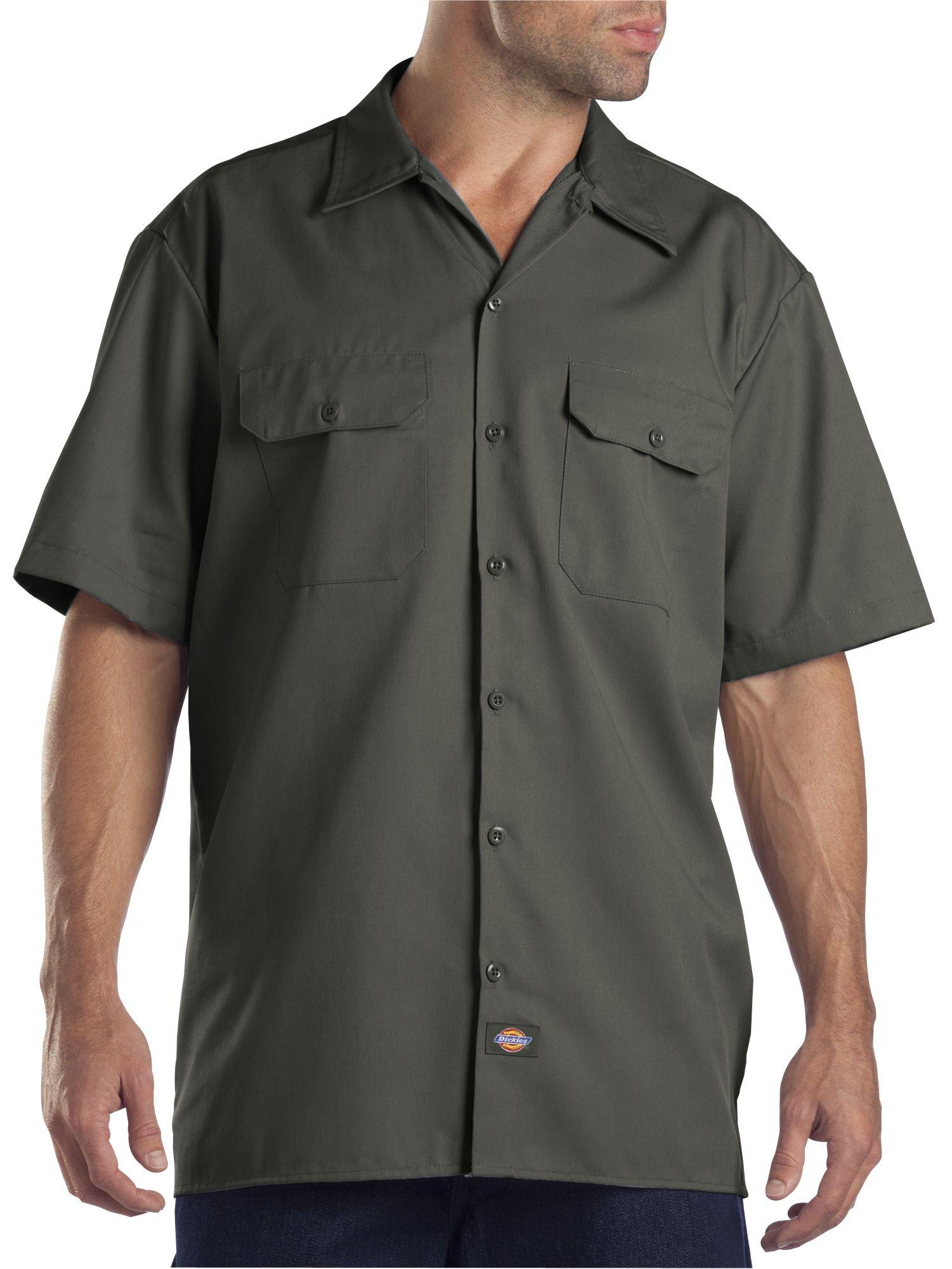 Dickies Men's Short-Sleeve Work Shirt, Olive Green, X-Large