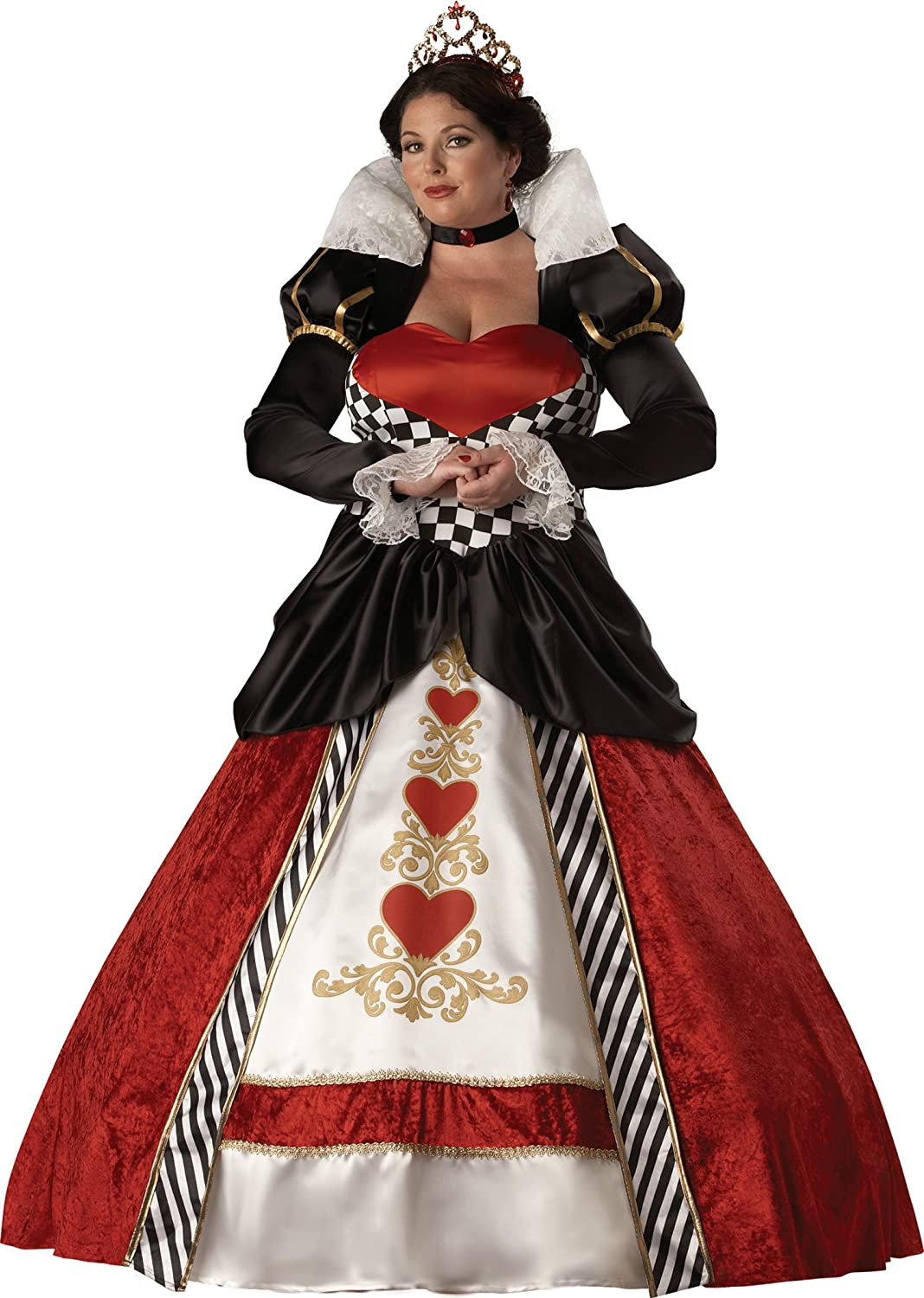 Plus size womens Queen of hearts gown costume