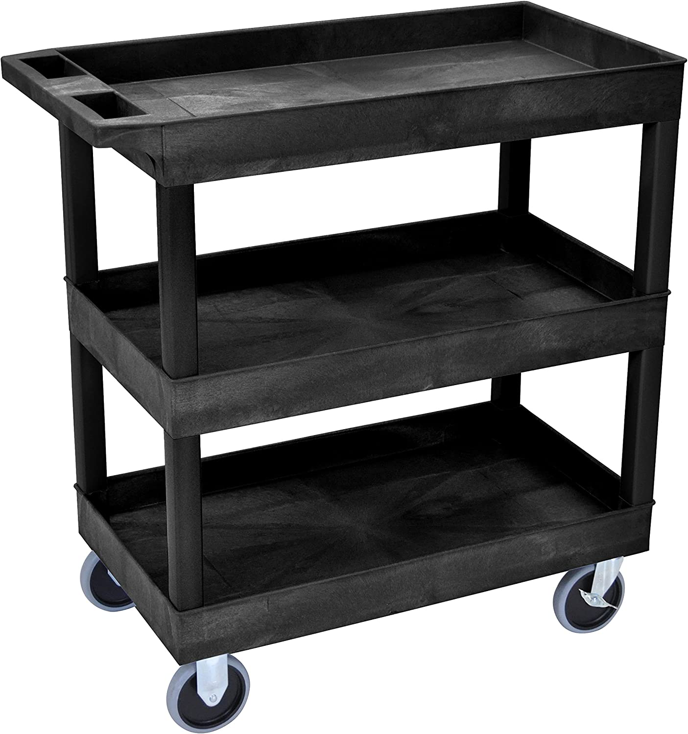 Amazon Com Luxor Hd High Capacity 3 Tub Shelves Cart In Black 18 D X 32 W Industrial Scientific