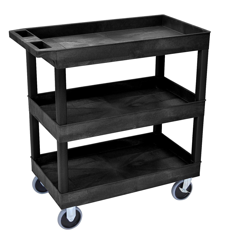 Luxor EC111HD-B HD High Capacity Cart, 3 Tub Shelves, Black LUXEC111HD-B