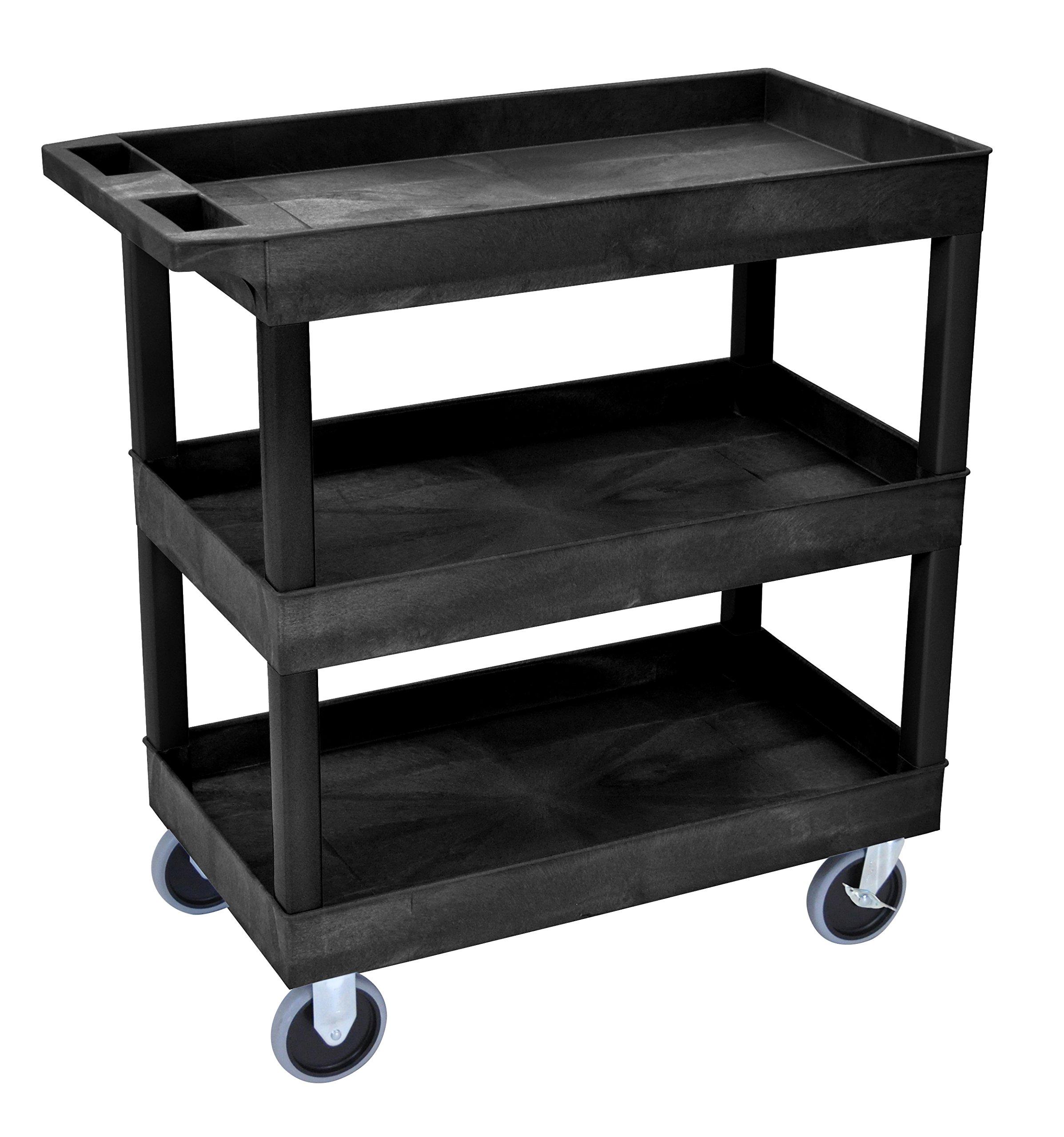 LUXOR EC111HD-B HD High Capacity Cart, 3 Tub Shelves, Black by Luxor