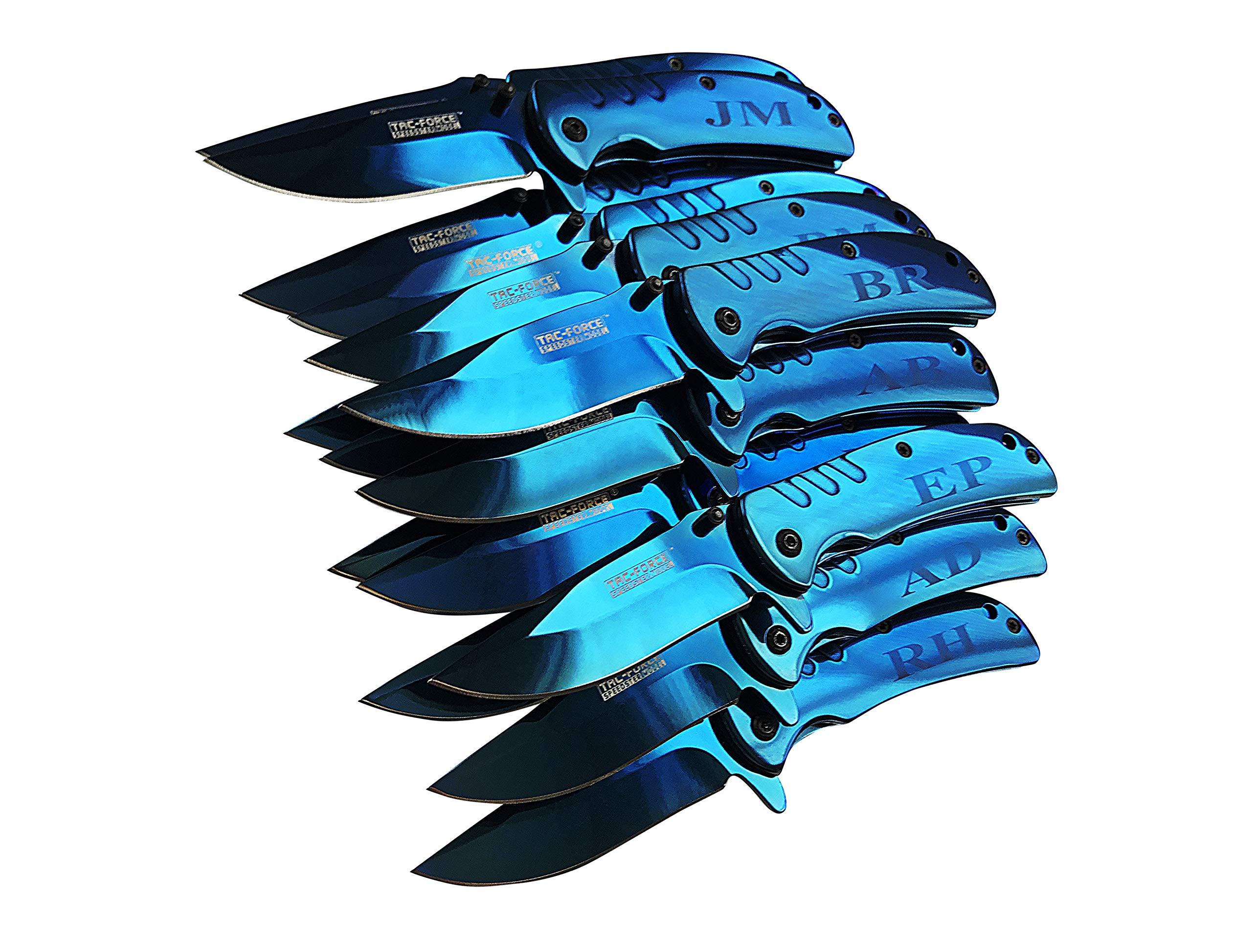 Eternity Engraving 5 Engraved Pocket Knifes, 5 Folding Pocket Knives Gift Set Personalized for Men and Women, Customized Knife Gift (Blue)
