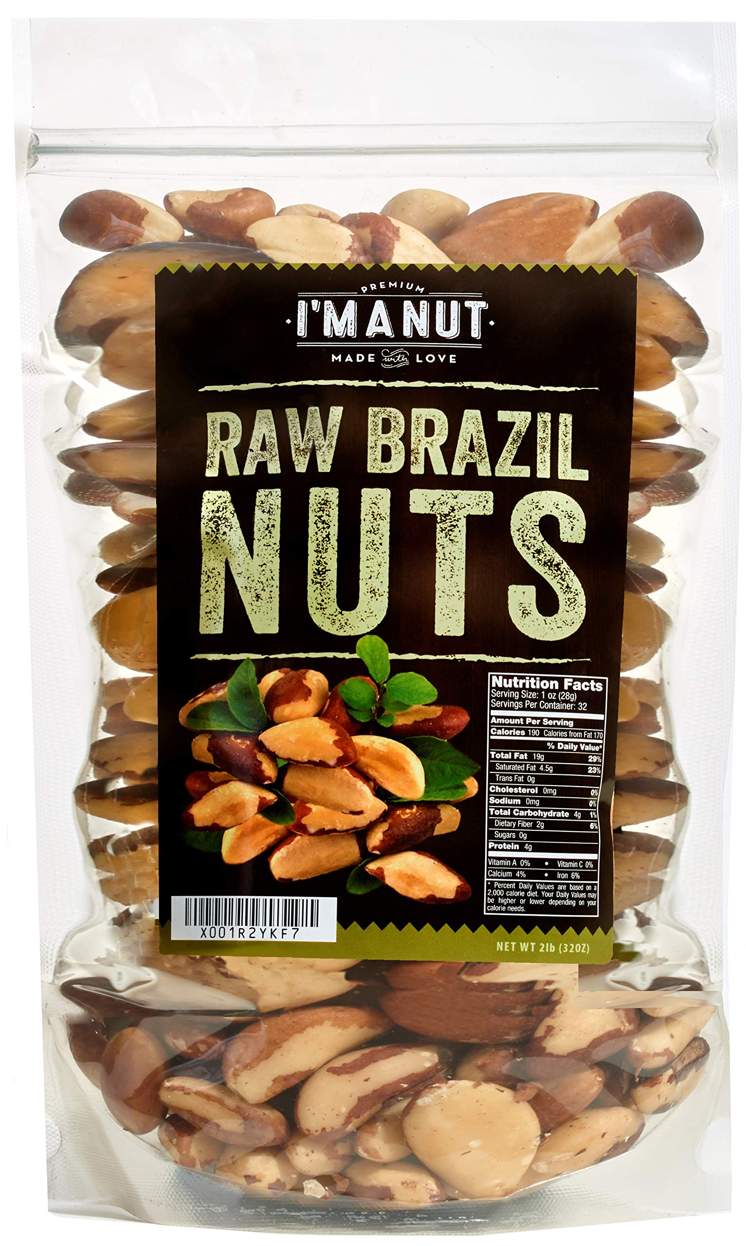 Raw Brazil Nuts 32oz (2 Pounds) Superior to Organic, No PPO, Probiotic, Large,Fresh and Reasealable bag by I'm A Nut