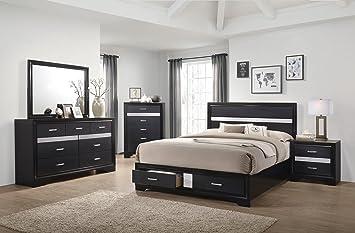 Superb Miranda Bedroom Elegant Modern Black Finish Eastern King Size Bed W Storage  Drawers White Stripes Matching