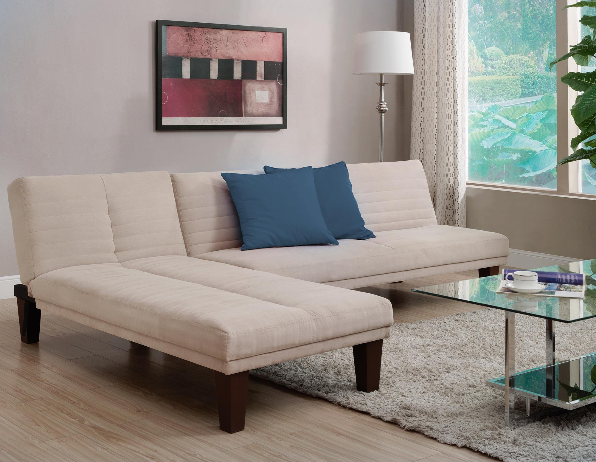 DHP Dillan Convertible Futon Couch Bed with Microfiber Upholstery and Wood Legs - Tan by DHP