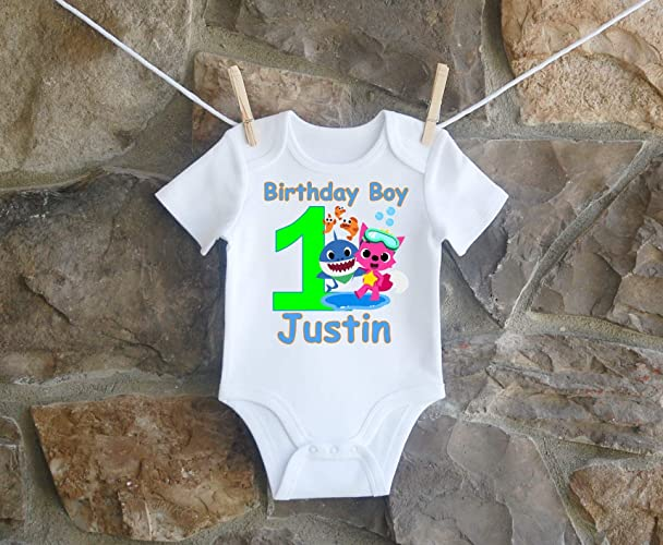 Amazon Baby Shark Birthday Shirt For Boys Personalized Handmade