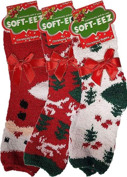 3X Ladies Christmas Cosy Socks Festive Slipper Xmas Soft Warm Socks Gift  4-7