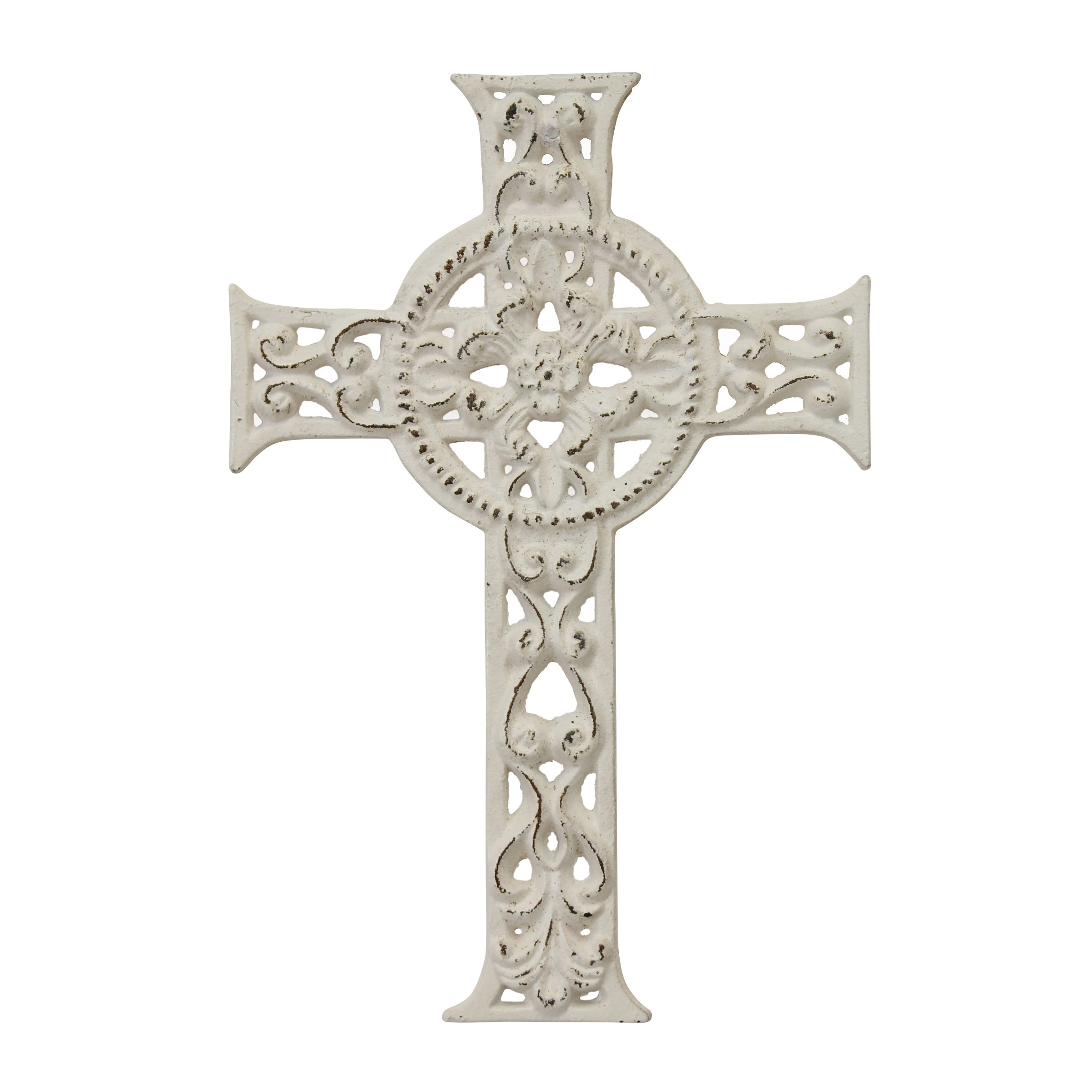 Stonebriar Decorative Distressed White Cast Iron Wall Cross with Hanging Loop, Celtic Inspired Design, Religious Decoration for Weddings, Parties, or Everyday Home Decor
