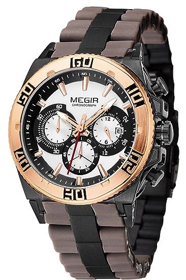 Megir Hombres Oro ejército deportes lujo funda de goma relojes de cuarzo: Amazon.es: Relojes