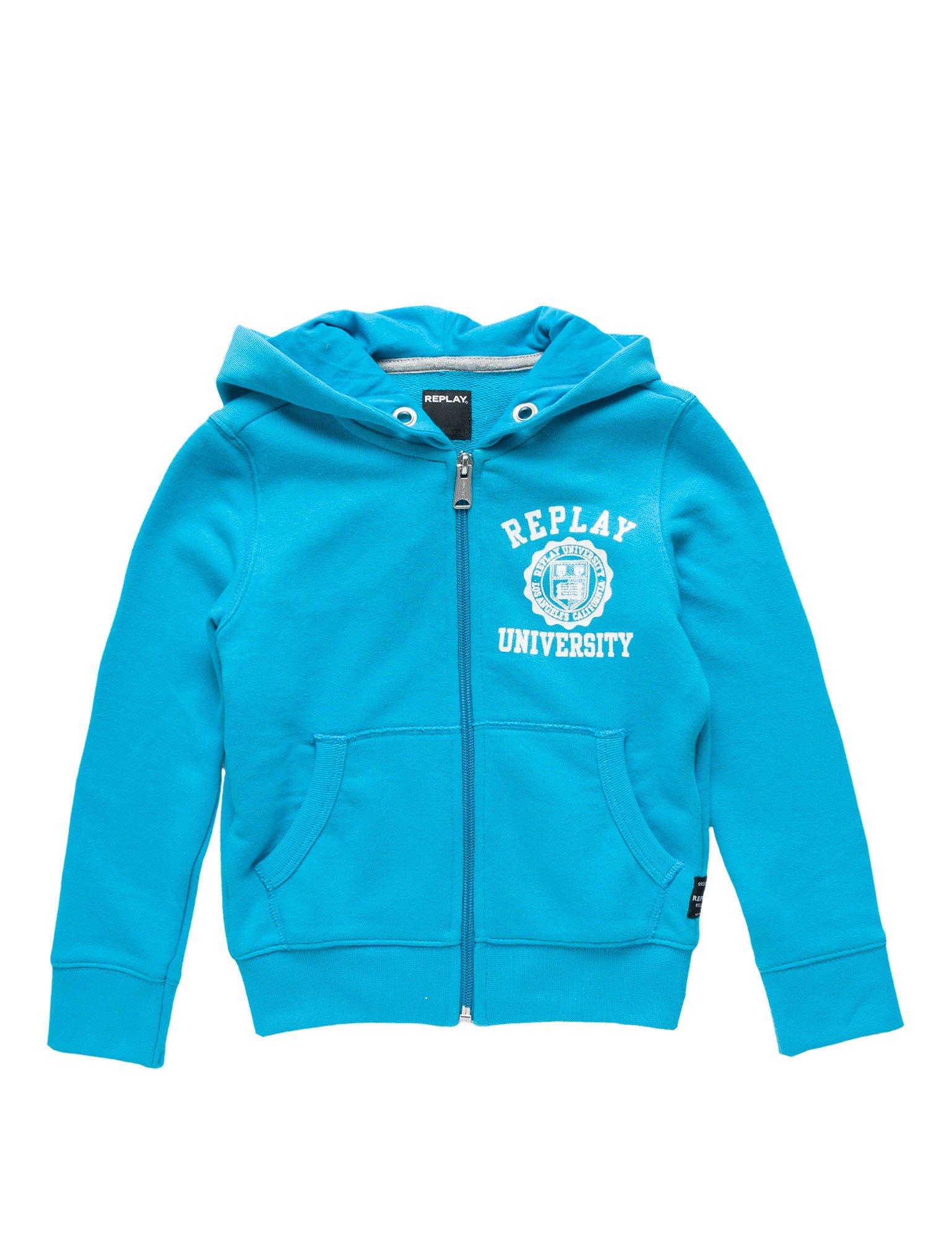 Replay Cotton/Poly Fleece Boy's Turquoise Sweatshirt In Size 12 Years Turquoise