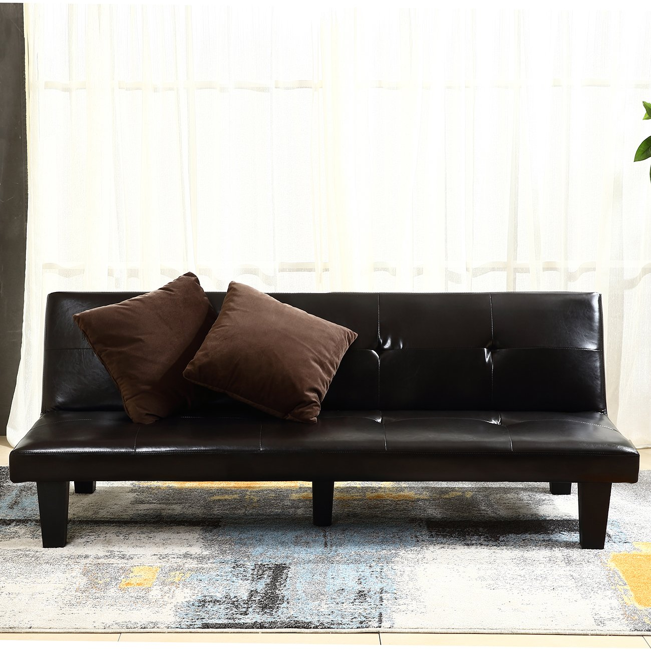 Amazon: Belleze Convertible Sofa Faux Leather Futon Bed Sleeper Couch  W/ (2) Toss Pillow, Brown: Kitchen & Dining