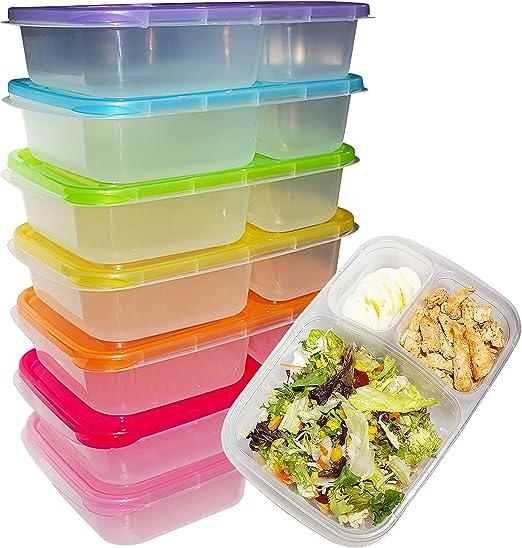 Kurtzy Fiambreras Bento (Pack 7) - 3 Compartimentos Contenedores Preparar Alimentos con Tapa - Plástico Control de Porciones para Alimentos - Aptos para Lavavajillas, Congelador y Microondas: Amazon.es: Hogar