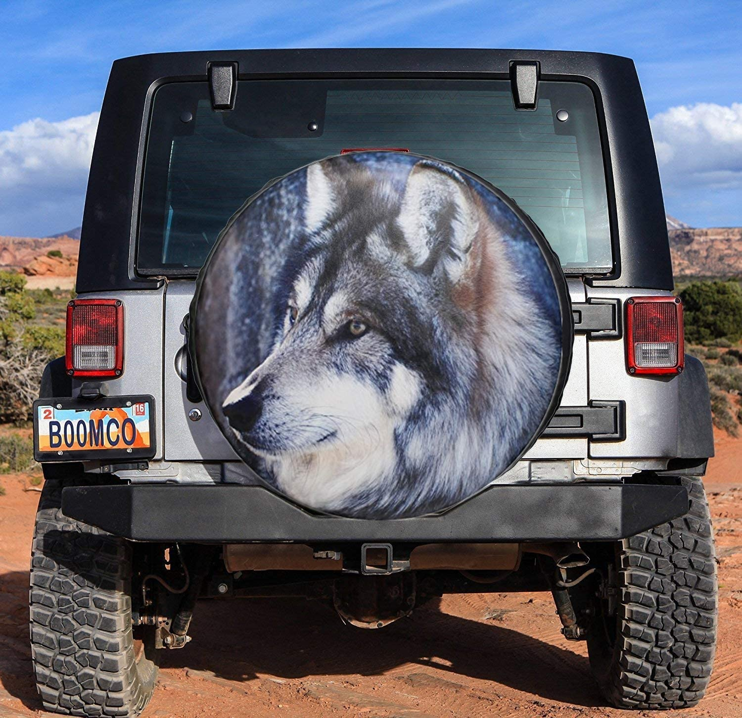 SUV sofu Spare Tire Cover RV 15 for Diameter 27-29 Camper and Vehicle Wheel Cover with Wolf PVC Leather Waterproof Dust-Proof Universal Fit for Jeep,Trailer