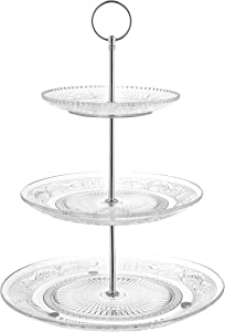 Royalty Art 3-Tiered Serving Stand (Glass) Beautiful, Elegant Dishware Serve Snacks, Appetizers, Cakes, Candies Durable, Reusable Party or Holiday Hosting (Silver) (1) (1)