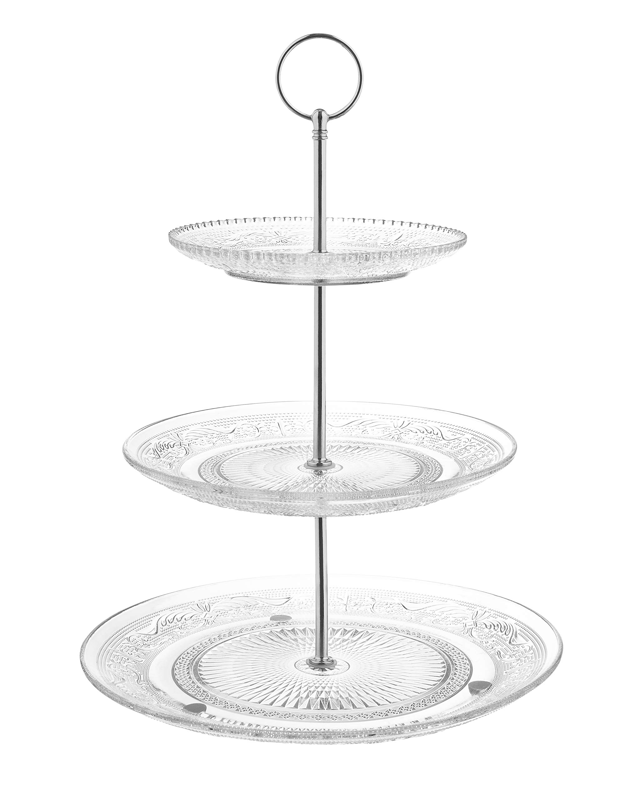 Fisher Home Products 3-Tiered Serving Stand (Glass) Beautiful, Elegant Dishware Serve Snacks, Appetizers, Cakes, Candies Durable, Reusable Party or Holiday Hosting (SILVER)