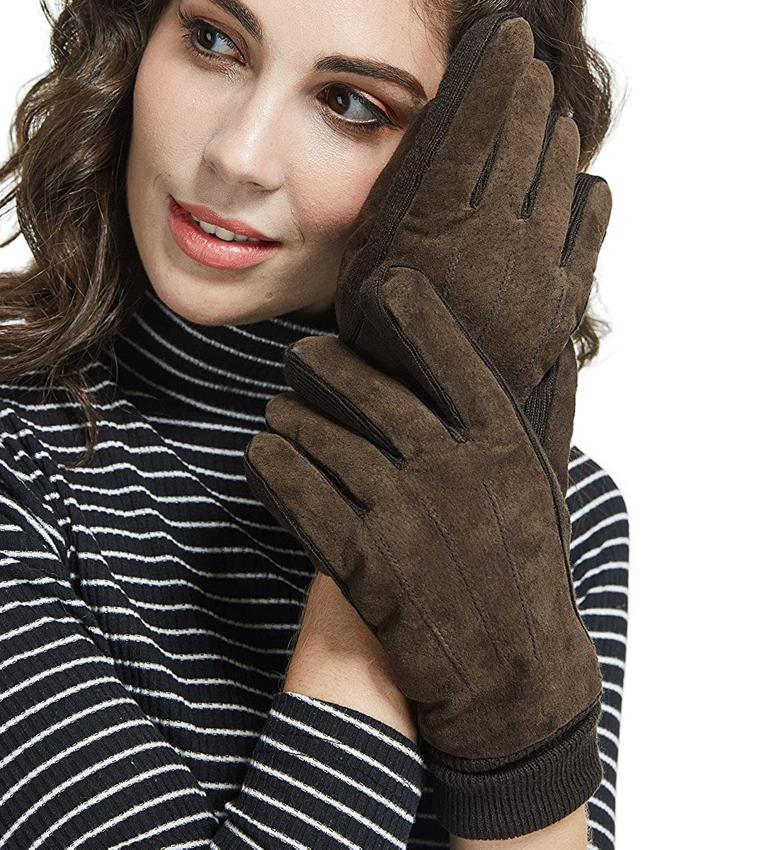 LETHMIK Mens&Womens Black Winter Gloves Suede Leather Knit Cuff with Thick Fleece Lining women leather gloves brown
