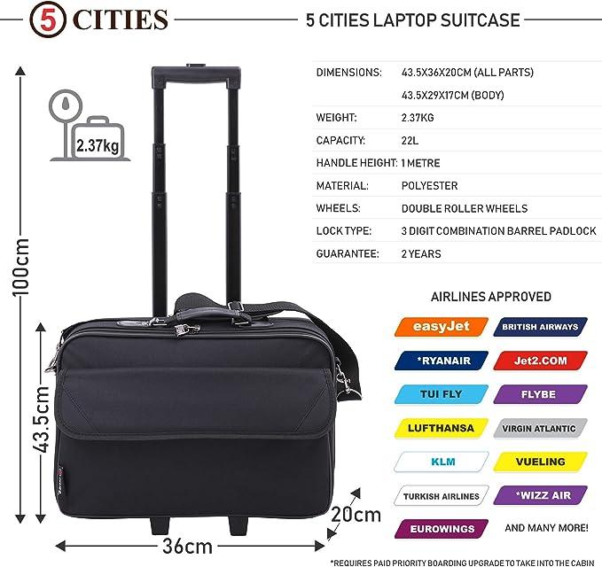44 cm 5 Cities Mallette ordinateur /à roulettes 22 L Noir