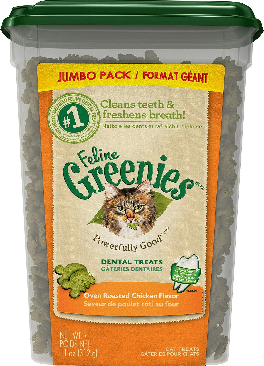 Greenies Feline Dental Cat Treats, Oven Roasted Chicken, 11 Ounce, 4 Pack