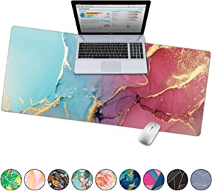 "French Koko Large Desk Mouse Pad Desktop Mat, Home Office School Cute Decor Extended Laptop Big Writing Blotter Protector Computer Accessories Pretty Mousepad Women 31""x15"" (Marble-lous Happy)"