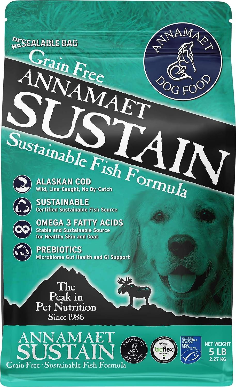 Annamaet Grain-Free Sustain Formula Dry Dog Food, (Line-Caught Cod & Free-Range Turkey), 5-lb Bag