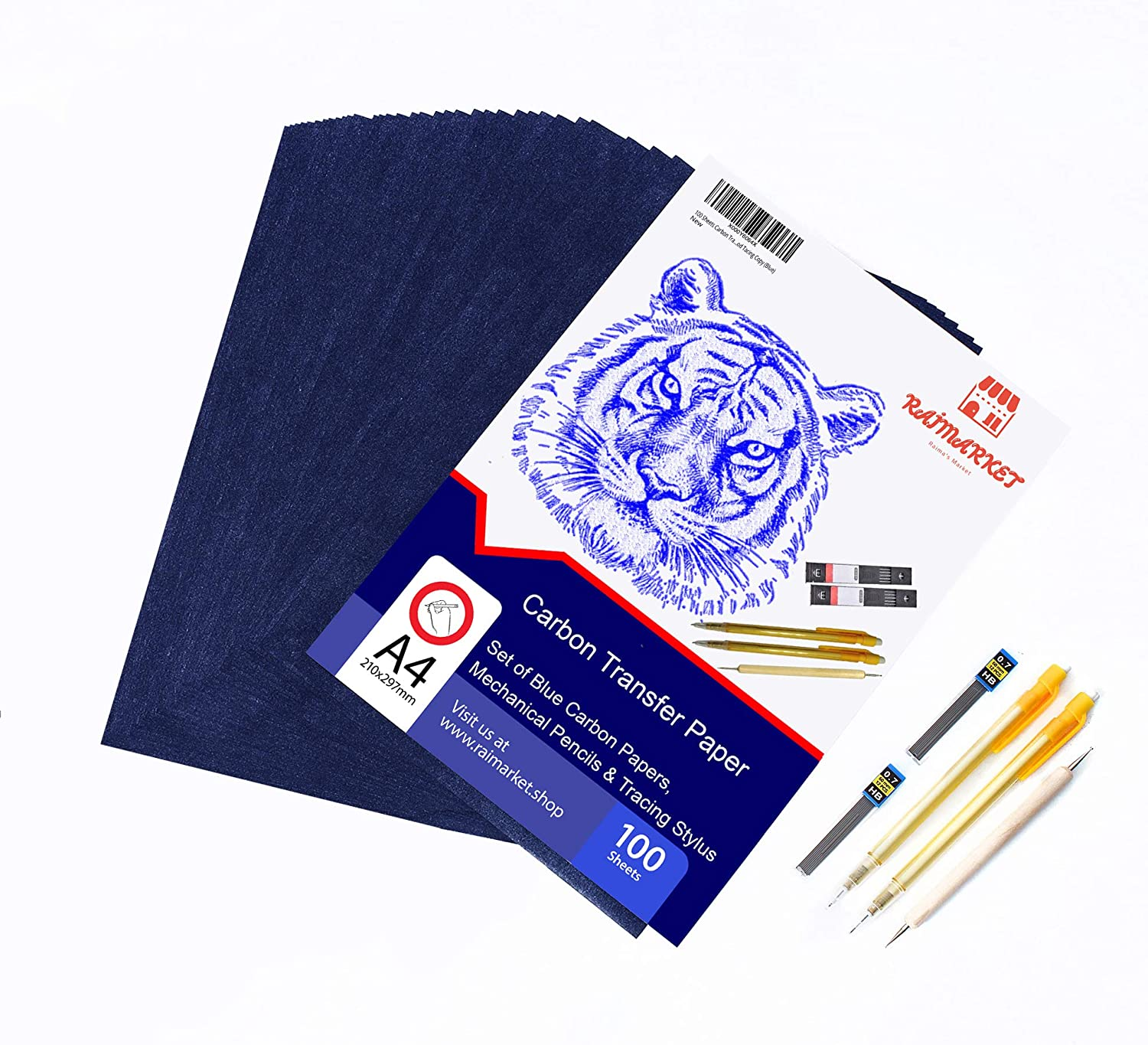Premium Quality Carbon and Tracing Paper Transfer Craft and Embroidery by Raimarket Tracing Carbon Transfer Graphite Blue Paper 100 Sheets with Embossing Stylus Set for Wood Copy