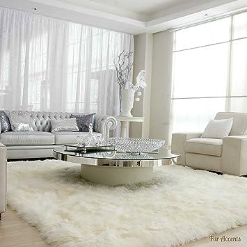 White Shaggy Sheepskin Fur Faux Fur Rug Rectangle Shape Plush Soft 8 X10 Furniture Decor