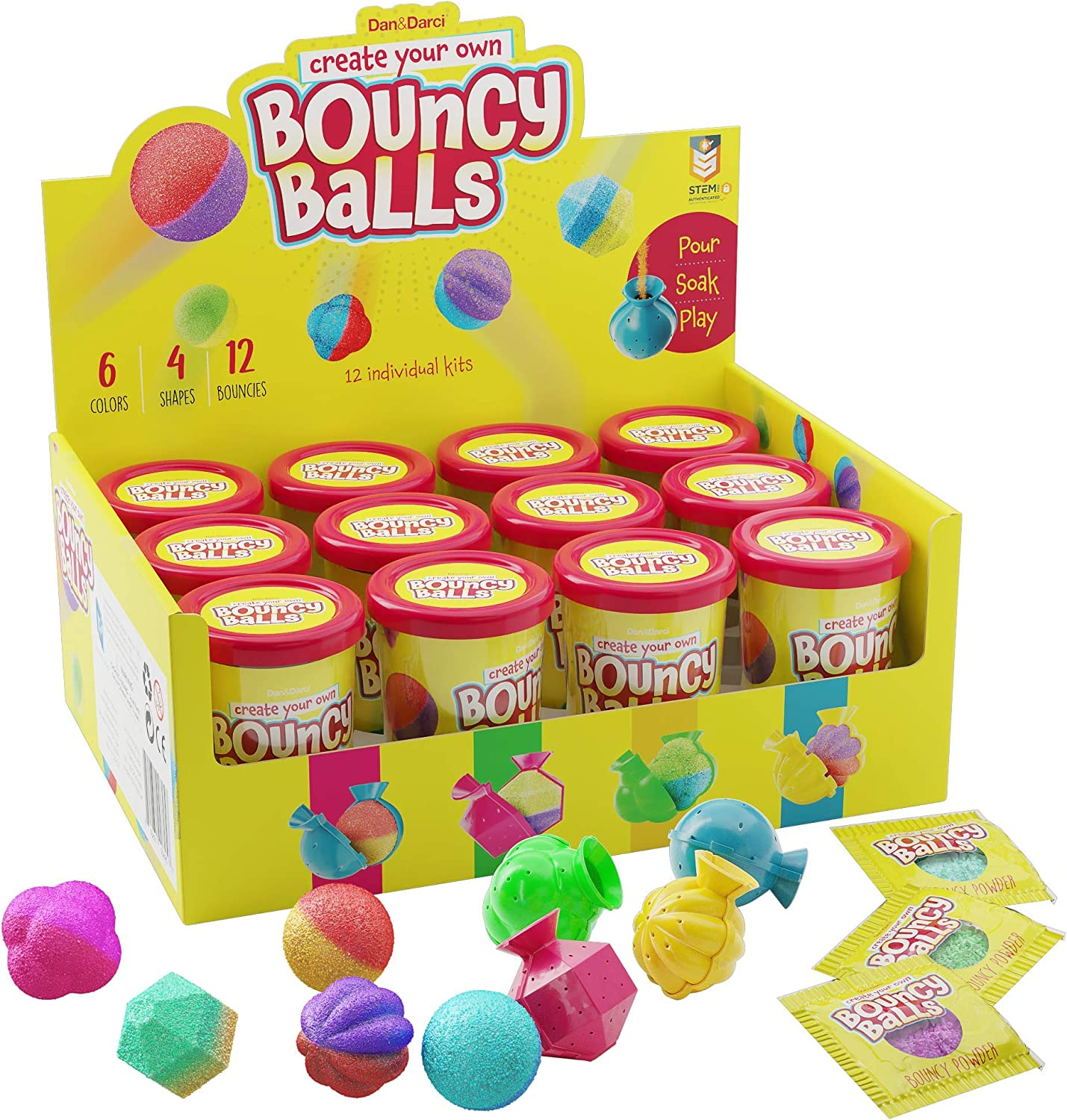 Make Your Own Bouncy Ball Kit - 12 Individual Kits - Science Party Favors - Cool Birthday Party Activities for Kids - Create 12 Crystal Balls - Fun DIY Arts and Crafts for Kids - STEM Projects