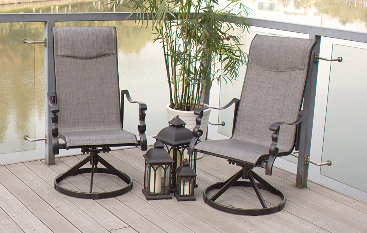 9pc Cast Aluminum Swivel Sling Rocker Patio Dining Furniture Set - Black